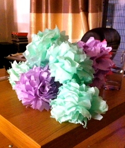 paper, purple, teal, green, flowers, wedding, handmade,
