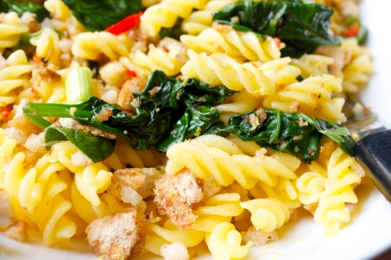 Lemon, Chilli, Spinach, gluten free, pasta ,garlic, breadcrumbs