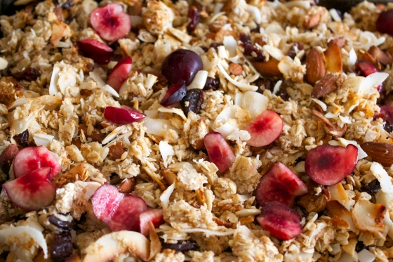 gluten free, cherry, coconut, granola, cherries, easy