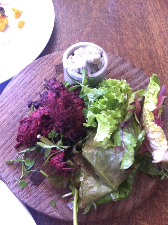 beetroot pakora, gluten free, swan at wedmore, gastro pub,