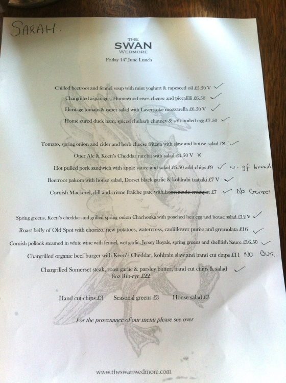 gluten free menu, the swan at wedmore, somerset, dining, getaway, gluten free reviews, bristol, gluten free blog uk