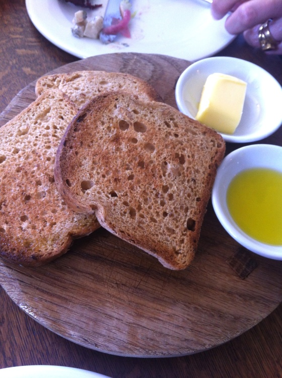 gluten free bread, butter, oil, swan at wedmore