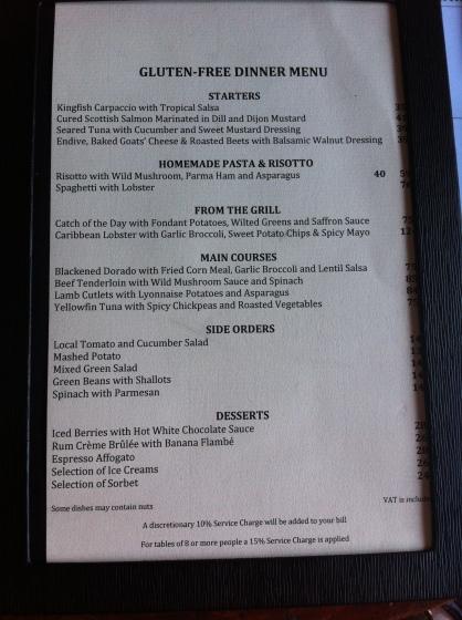 Daphne's, Gluten Free, Barbados, menu