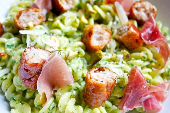 Gluten Free,  Pistachio, Pesto Pasta, Proscuitto, Chicken Sausage