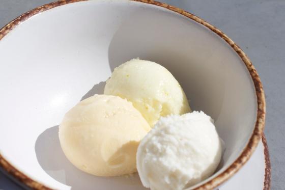 Lemon verbena, Marmalade ice cream. Citrus Sorbet